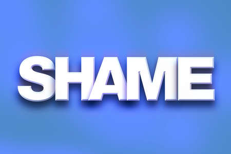 The word Shame written in white 3D letters on a colorful background concept and theme.