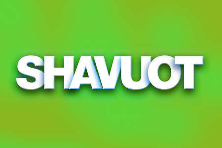 The word Shavuot written in white 3D letters on a colorful background concept and theme.