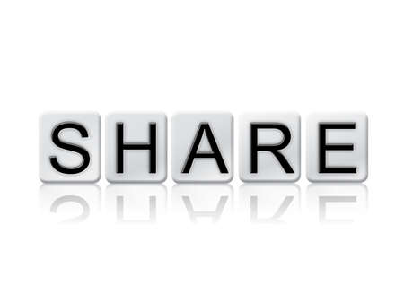 shared sharing: The word Share written in tile letters isolated on a white background.