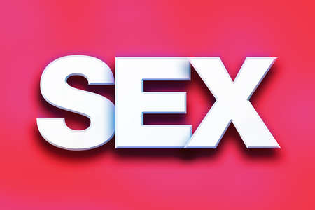 The word Sex written in white 3D letters on a colorful background concept and theme. Stock Photo