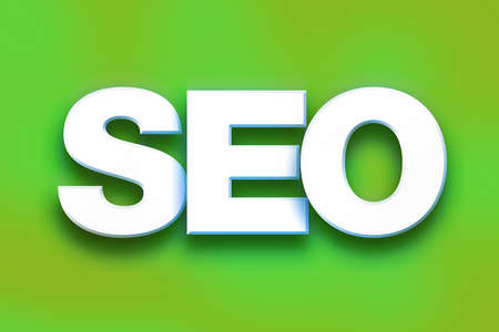 The word SEO written in white 3D letters on a colorful background concept and theme.