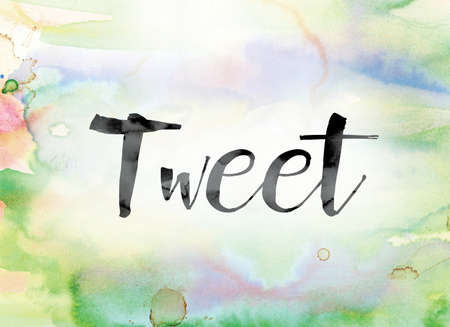 tweet: The word Tweet painted in black ink over a colorful watercolor washed background concept and theme.