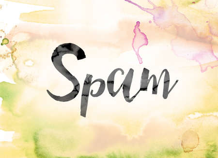 The word Spam painted in black ink over a colorful watercolor washed background concept and theme.