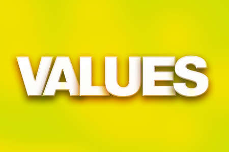 The word Values written in white 3D letters on a colorful background concept and theme. Stock Photo