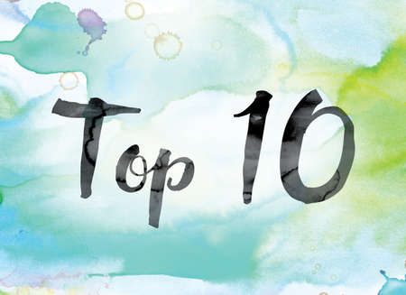 top 10: The word Top 10 painted in black ink over a colorful watercolor washed background concept and theme. Stock Photo