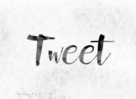 tweet: The word Tweet concept and theme painted in watercolor ink on a white paper. Stock Photo