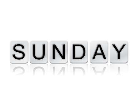 The word Sunday written in tile letters isolated on a white background.