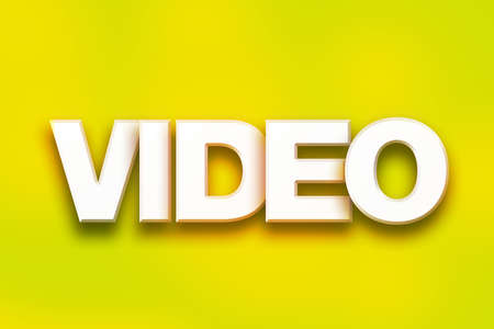 The word Video written in white 3D letters on a colorful background concept and theme. Stock Photo