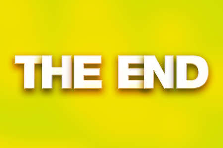 The word The End written in white 3D letters on a colorful background concept and theme.