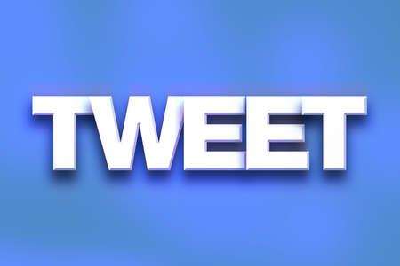 """Het woord """"tweet"""" geschreven in wit 3D brieven op een kleurrijke achtergrond concept en het thema."""