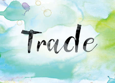 The word Trade painted in black ink over a colorful watercolor washed background concept and theme.
