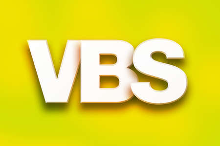 The word VBS written in white 3D letters on a colorful background concept and theme. Stock Photo