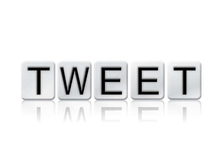 tweet: The word Tweet written in tile letters isolated on a white background.