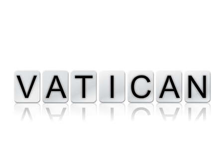 letterpress blocks: The word Vatican written in tile letters isolated on a white background. Stock Photo