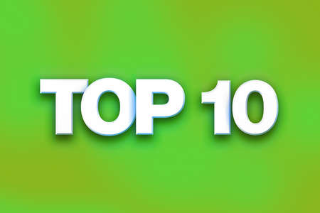 top 10: The word Top 10 written in white 3D letters on a colorful background concept and theme. Stock Photo