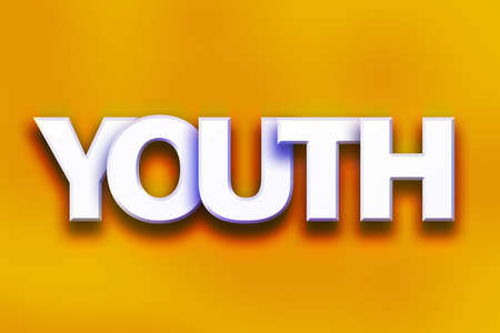 The word Youth written in white 3D letters on a colorful background concept and theme.