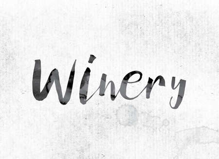 The word Winery concept and theme painted in watercolor ink on a white paper.