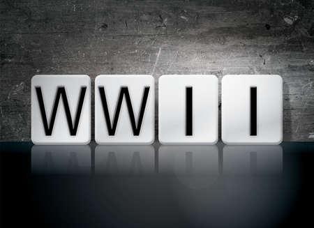 The word WWII written in white tiles against a dark vintage grunge background.