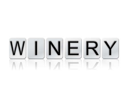 The word Winery written in tile letters isolated on a white background.