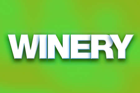The word Winery written in white 3D letters on a colorful background concept and theme.