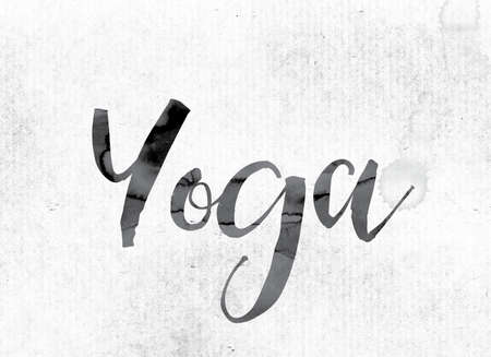 headstand: The word Yoga concept and theme painted in watercolor ink on a white paper.