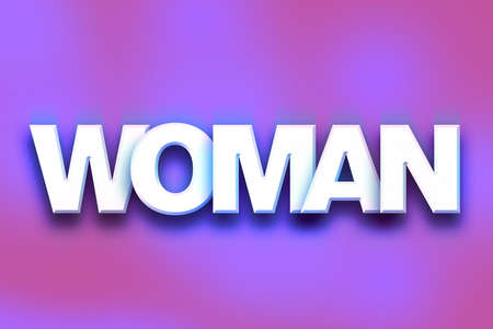 The word Woman written in white 3D letters on a colorful background concept and theme. Stock Photo