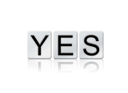 The word Yes written in tile letters isolated on a white background.