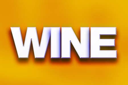 The word Wine written in white 3D letters on a colorful background concept and theme.