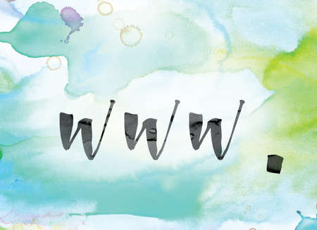 The word www. painted in black ink over a colorful watercolor washed background concept and theme. Stock Photo
