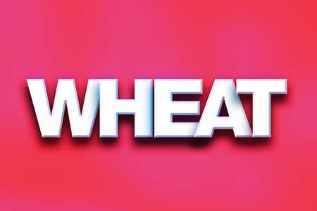 The word Wheat written in white 3D letters on a colorful background concept and theme.