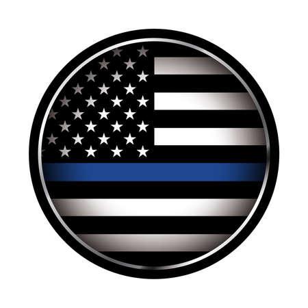 An American flag flaga ikona wsparcia organów ścigania. Wektor EPS 10 dostępne.