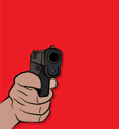 gunfire: A person pulling the trigger on a pistol handgun illustration. Vector EPS 10 available.