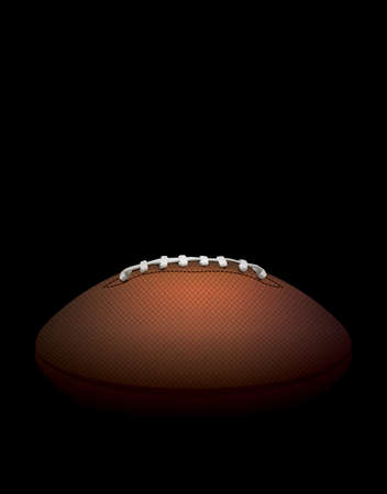 photo realism: A side profile view of a leather American Football hidden in shadows against a black background. Vector EPS 10 illustration available.