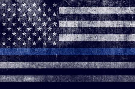 Una texture bandiera di età compresa tra il supporto delle forze dell'ordine con una sottile linea blu. Archivio Fotografico - 70861318