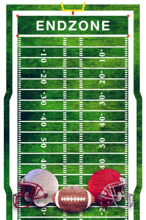 A retro grunge American football field and ball and helmets background illustration.