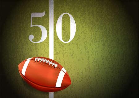 リアルなアメリカン フットボール 50 ヤード ラインの図で芝のフィールドの上に座って。ベクター EPS 10 利用できます。