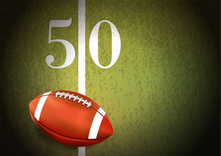 A realistic American football sitting on a turf field at the fifty yard line illustration. Vector EPS 10 available.