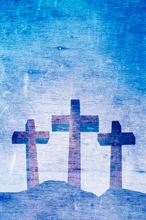 calvary: Three Christian crosses on Calvary aged landscape illustration Stock Photo