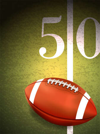 A realistic American football sitting at the fifty yard line on a turf field illustration. Vector EPS available. Illustration