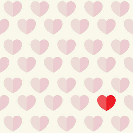 screened: A repeating pattern of screened hearts with one red heart isolated illustration. Vector EPS 10 available.
