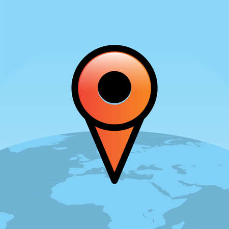 An orange location map pin over a globe of the world facing Africa illustration. Vector EPS 10 available.