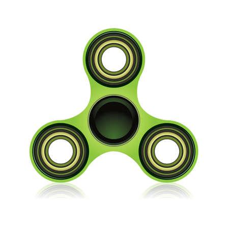흰 배경에 고립 녹색 fidget 스피너 손 장난감 일러스트 레이 션. 벡터 EPS 10 사용할 수 있습니다.