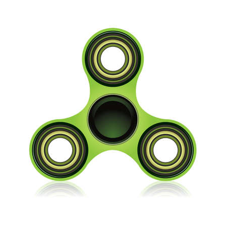 A green fidget spinner hand toy isolated on a white background illustration. Vector EPS 10 available.