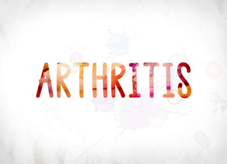 The word Arthritis concept and theme painted in colorful watercolors on a white paper background.