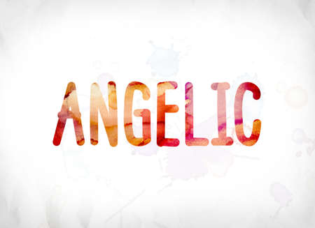 The word Angelic concept and theme painted in colorful watercolors on a white paper background.