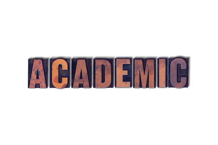 The word Academic concept and theme written in vintage wooden letterpress type on a white background. Stok Fotoğraf