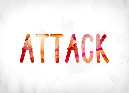 The word Attack concept and theme painted in colorful watercolors on a white paper background.