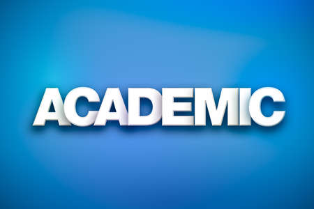 The word Academic concept written in white type on a colorful background. Stok Fotoğraf