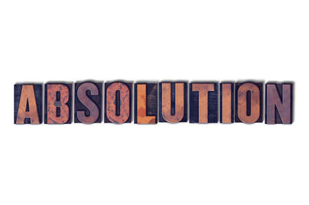 The word Absolution concept and theme written in vintage wooden letterpress type on a white background.