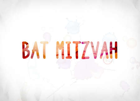 The words Bat Mitzvah concept and theme painted in colorful watercolors on a white paper background.